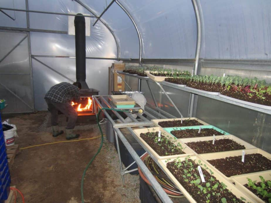 greenhouse heating with wood stoves